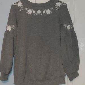 Gray floral embroidered tunic maternity sweatshirt
